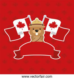 canada day celebration card with beaver and flags