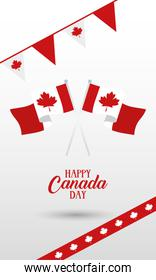 canada day celebration card with flag in garlands hanging