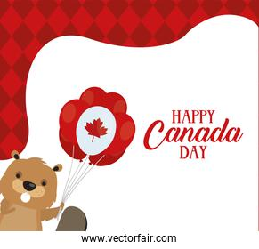 canada day celebration card with beaver and flag