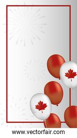 canada day celebration card with maple leafs in balloons helium
