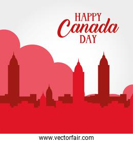 canada day celebration card with cityscape scene