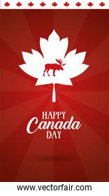 canada day celebration card with maple leaf and reindeer silhouette