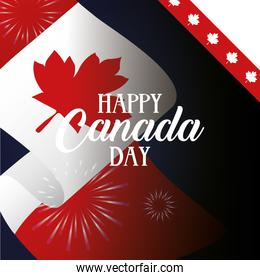 canada day celebration card with flag and fireworks