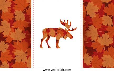 canada day celebration card with maple leafs foliage and reindeer