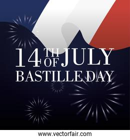 bastille day celebration card with france flag and fireworks