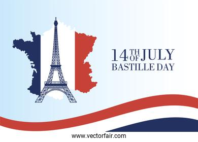 bastille day celebration card with eiffel tower and france map