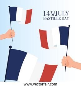 bastille day celebration poster with hand waving france flags