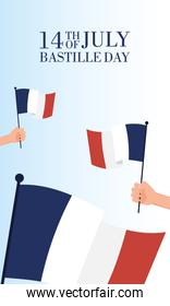 bastille day celebration card with hand waving france flags