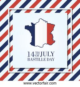 bastille day celebration card with france map and flag