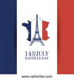 bastille day celebration cartel with eiffel tower and france map