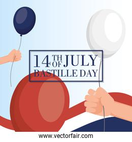 bastille day celebration card with france flag and balloons helium