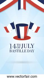 bastille day celebration card with france flags and tophat