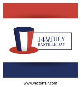 bastille day celebration card with france flag in tophat