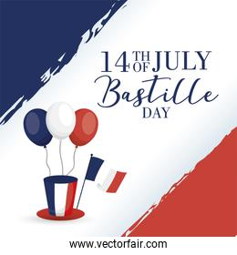 bastille day celebration card with france flags in balloons helium and tophat