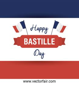 bastille day celebration card with france flags