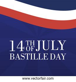 bastille day celebration card with france flag