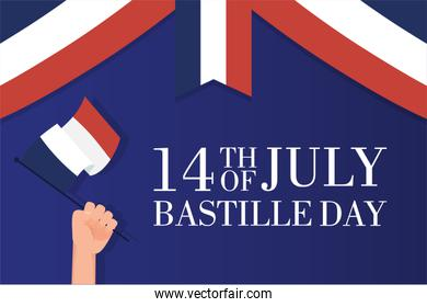 bastille day celebration card with hand waving france flag