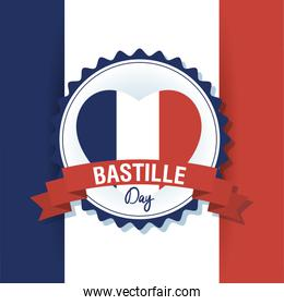 bastille day celebration card with france flag in heart