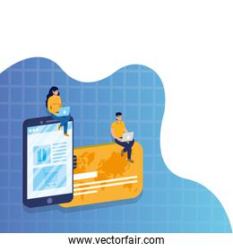 shopping online ecommerce with couple using laptops and smartphone in credit card