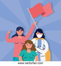 interracial women protesting with flags
