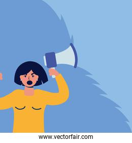 young woman protesting with megaphone