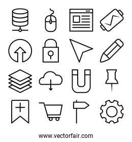localization arrow and user interface icon set, line style