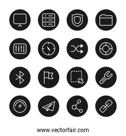 compass and ui or ux icon set, block style