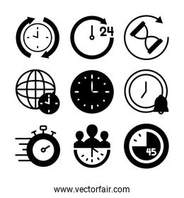 stopwatch and time icon set, silhouette style