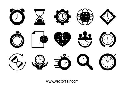 hourglass and time icon set, silhouette style