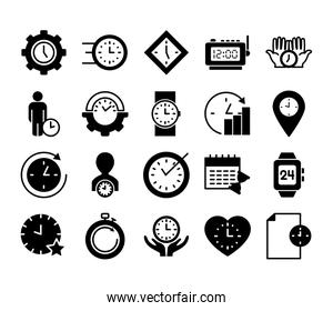 clock and time icon set, silhouette style