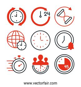 stopwatch and time icon set, half line half color style