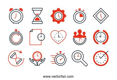 hourglass and time icon set, half line half color style