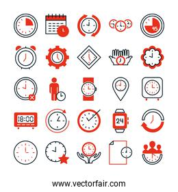 global sphere and clock time icon set, half line half color style