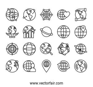 earth planet and global sphere icon set, line style