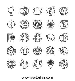 arrows and global sphere icon set, line style