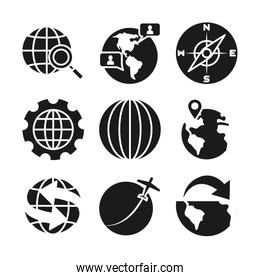 compass and global sphere icon, silhouette style