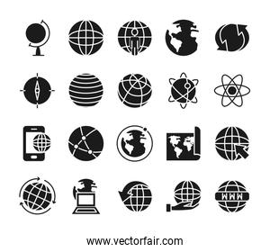 compass and world icon set, silhouette style
