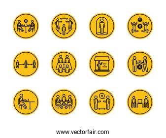 pictogram persons and social distancing icon set, block silhouette style