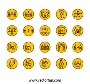 pictogram people talking and social distancing icon set, block silhouette style