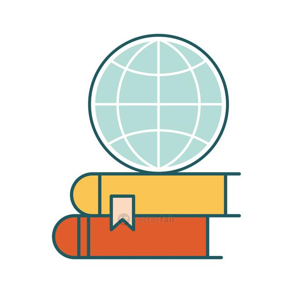 global sphere on ebooks line and fill style icon vector design