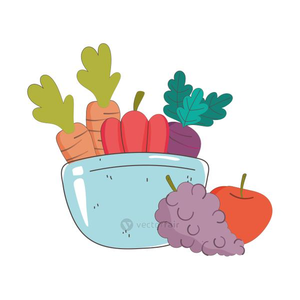 bowl with carrots pepper grapes and apple fresh organic healthy food with fruits and vegetables