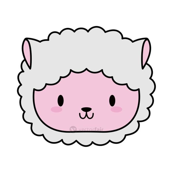 head sheep baby kawaii, line and fill style icon