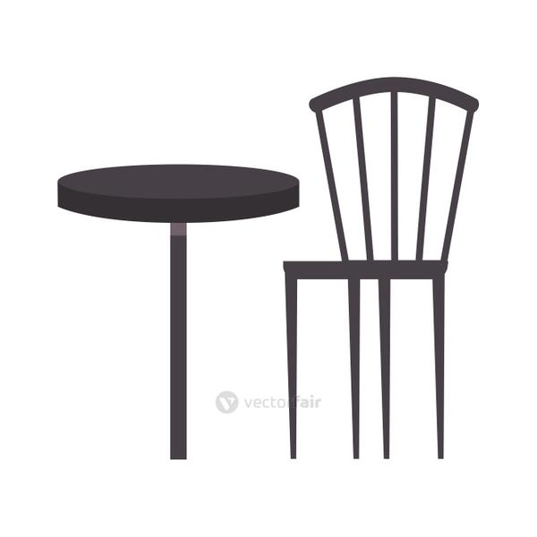 Restaurant table with chair vector design