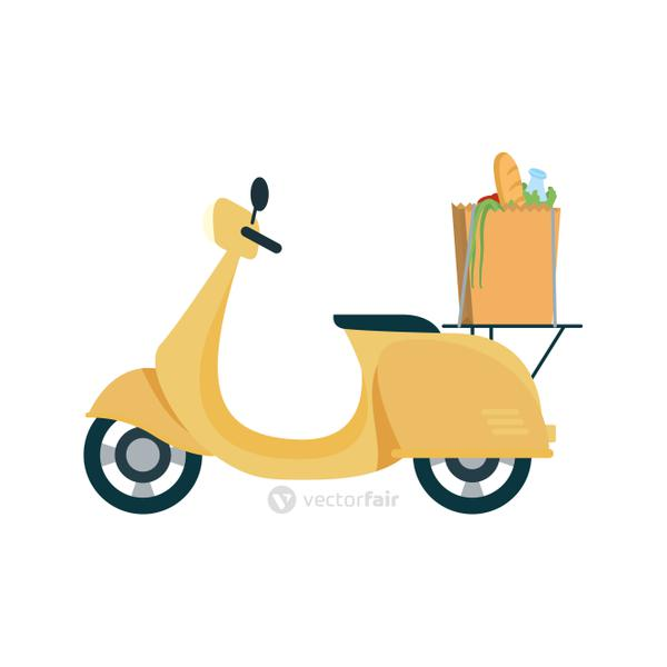 Delivery motorcycle with bag vector design