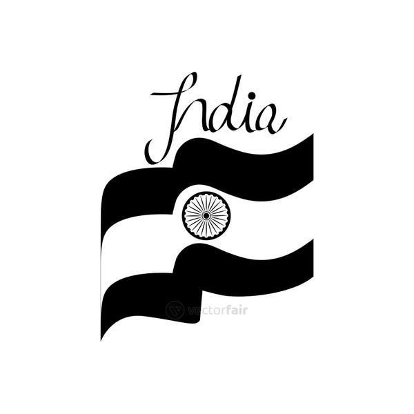 india flag waving icon, silhouette style