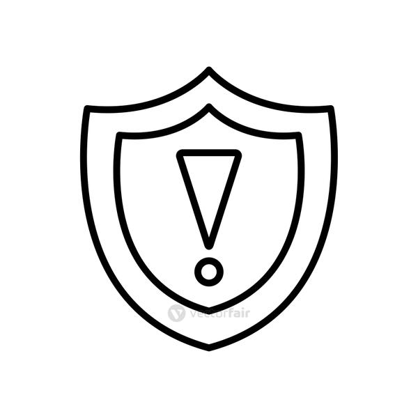 shield with warning sign icon, line style