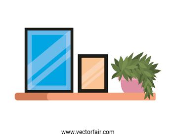 Isolated home frames and plant inside pot on shelf vector illustration