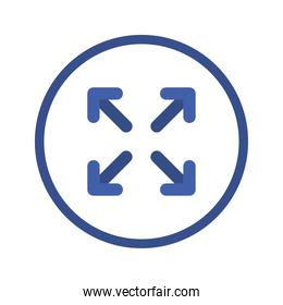 Arrows in four directions inside circle vector design