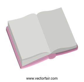 Isolated open book with cover pink color