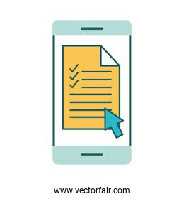 Document on smartphone line and fill style icon vector design